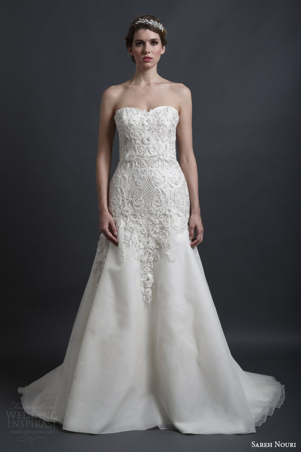 sareh nouri spring 2016 bridal dorothy strapless sweetheart a line wedding dress embroidery bodice