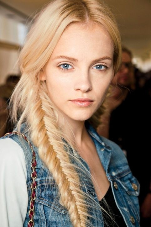 Messy Fishtail Braided Hairstyle for Blonde Hair