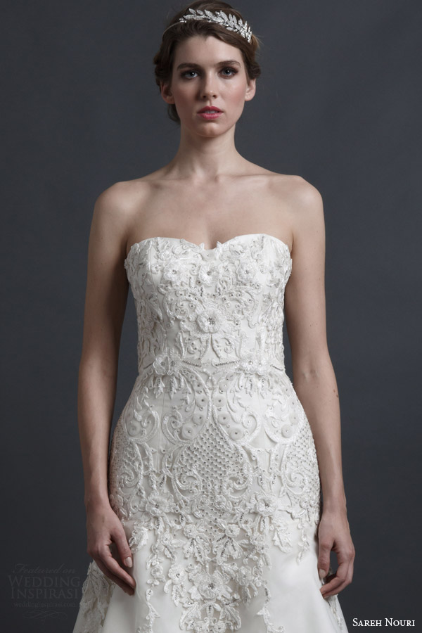 sareh nouri spring 2016 bridal dorothy strapless sweetheart a line wedding dress embroidery bodice close up