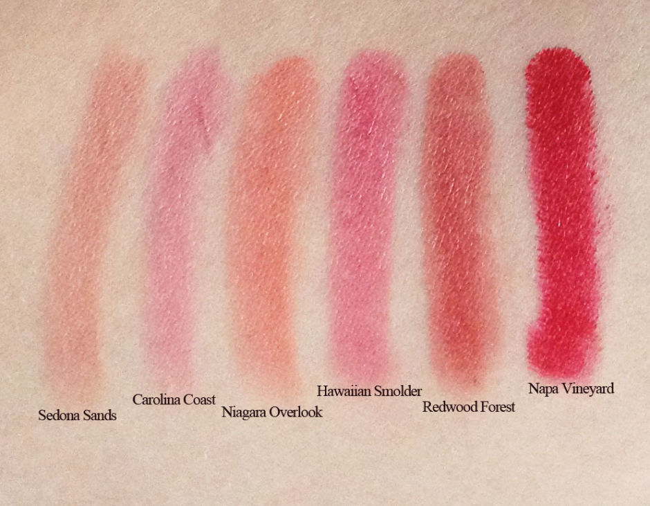 Swatches of the new Burt's Bees Lip Crayons.