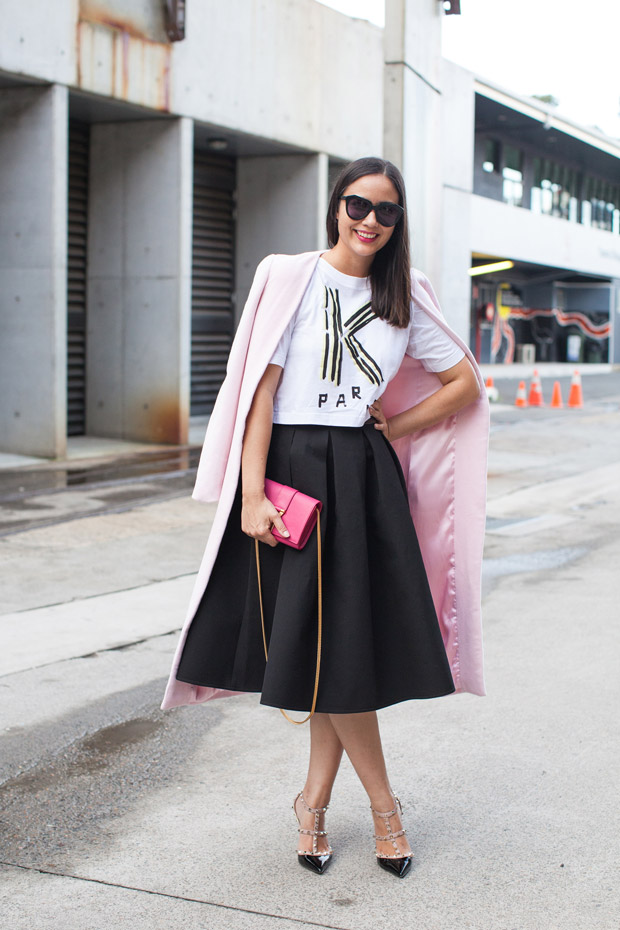 pink pastel coat black and white