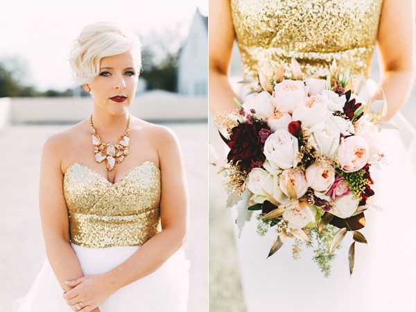 bride wearing gold - photo by Emily Chidester http://ruffledblog.com/southern-wedding-with-a-gold-sequin-gown