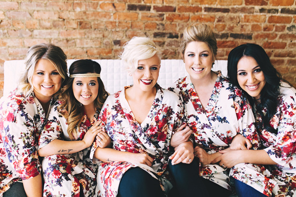 bride and bridesmaids - photo by Emily Chidester http://ruffledblog.com/southern-wedding-with-a-gold-sequin-gown