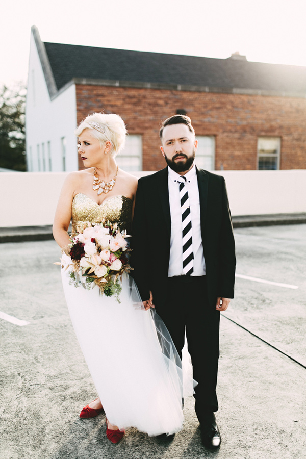 modern wedding fashion - photo by Emily Chidester http://ruffledblog.com/southern-wedding-with-a-gold-sequin-gown