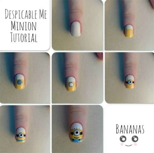10 Easy Step By Step Minion Nail Art Tutorials For Beginners Learners 2015 4 10 Easy Step by Step Minion Nail Art Tutorials For Beginners & Learners 2015