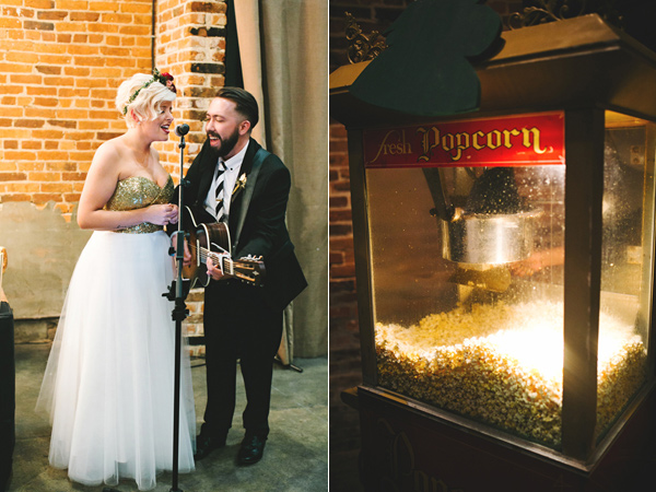 wedding reception - photo by Emily Chidester http://ruffledblog.com/southern-wedding-with-a-gold-sequin-gown