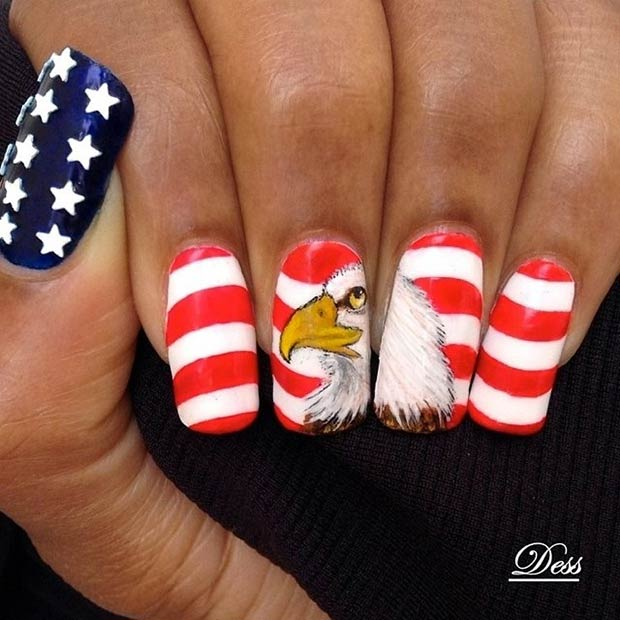American Flag and Eagle Nail Design