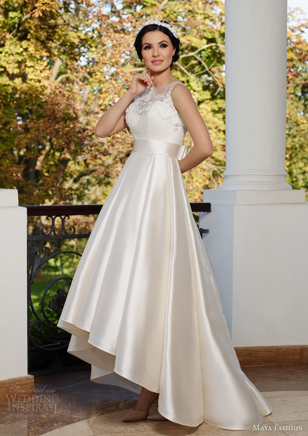 maya bridal 2015 royal wedding dress collection sleeveless high low gown m47
