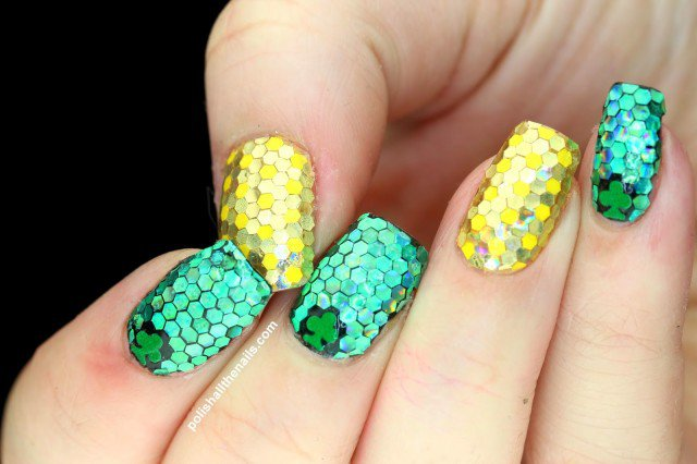 St Patrick's Day Nails all sparkly green and gold glitter placement nails 5