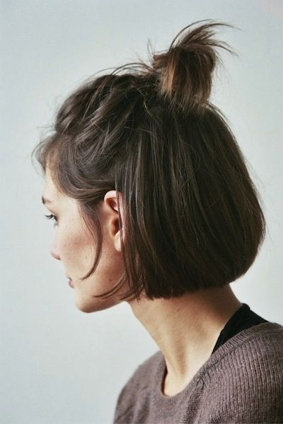 Medium Bob Hairstyles Into a Messy Bun