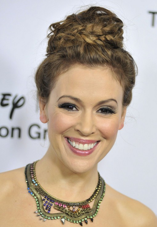Alyssa Milano Braided Bun Hairstyle
