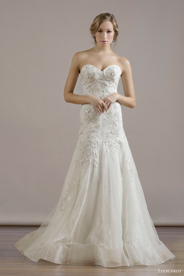 liancarlo bridal fall 2015 wedding dress style 6814 italian bouquet embroidery chantilly strapless trumpet gown with lace tulle skirt panels