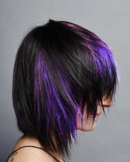 Purple Lighted Shag Hairstyles Design