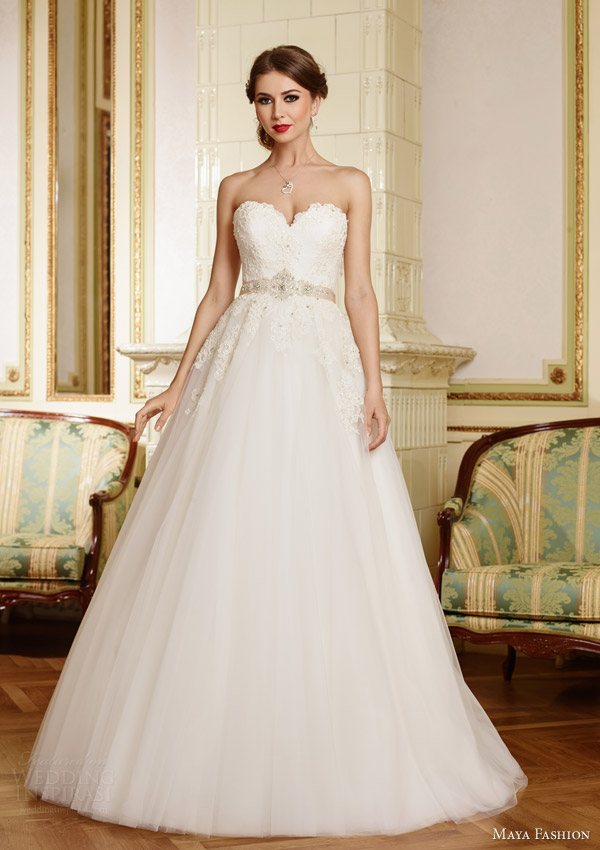 maya fashion bridal 2015 royal collection strapless a line wedding dress sweetheart neckline lace bodice m33