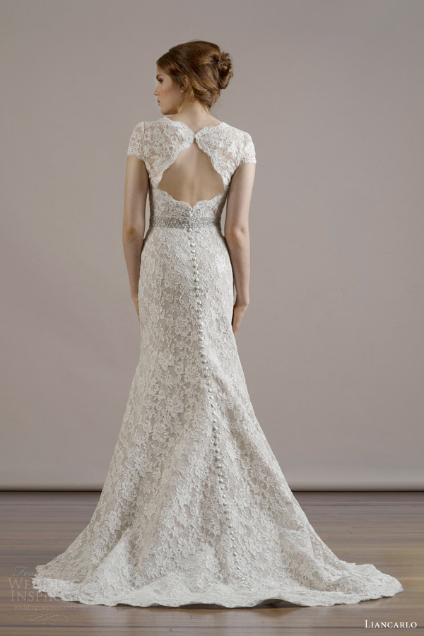 liancarlo bridal fall 2015 wedding dress style 6804 alencon lace sweetheart neckline cap sleeve mermaid gown ivory taupe back view keyhole