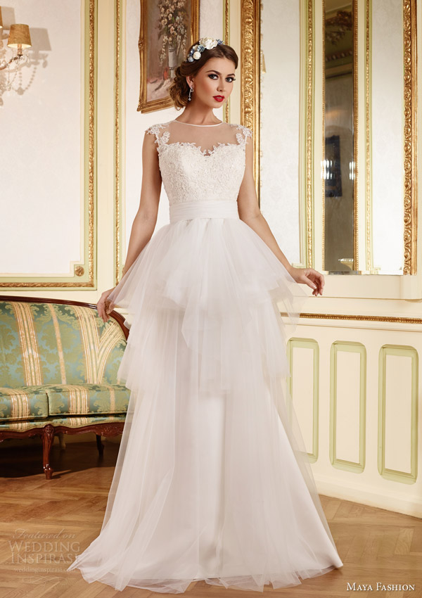 maya bridal 2015 royal wedding dress collection illusion neckline gown layered skirt m41