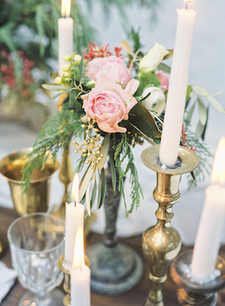 Candlelight and pink floral centerpiece | Loblee Photography | see more on: http://burnettsboards.com/2015/04/feminine-rustic-botanical-wedding/