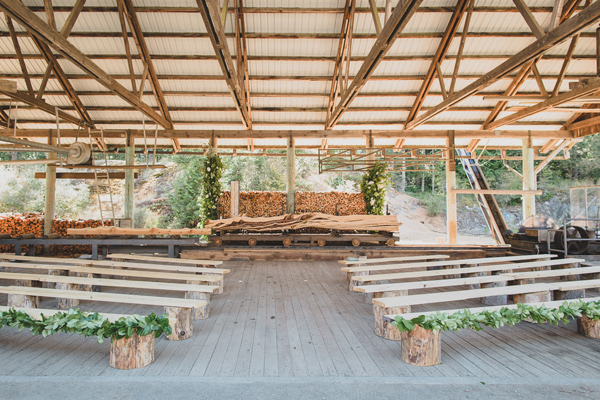 wedding ceremony seating - photo by Jaquilyn Shumate http://ruffledblog.com/orcas-island-wedding-at-a-sawmill