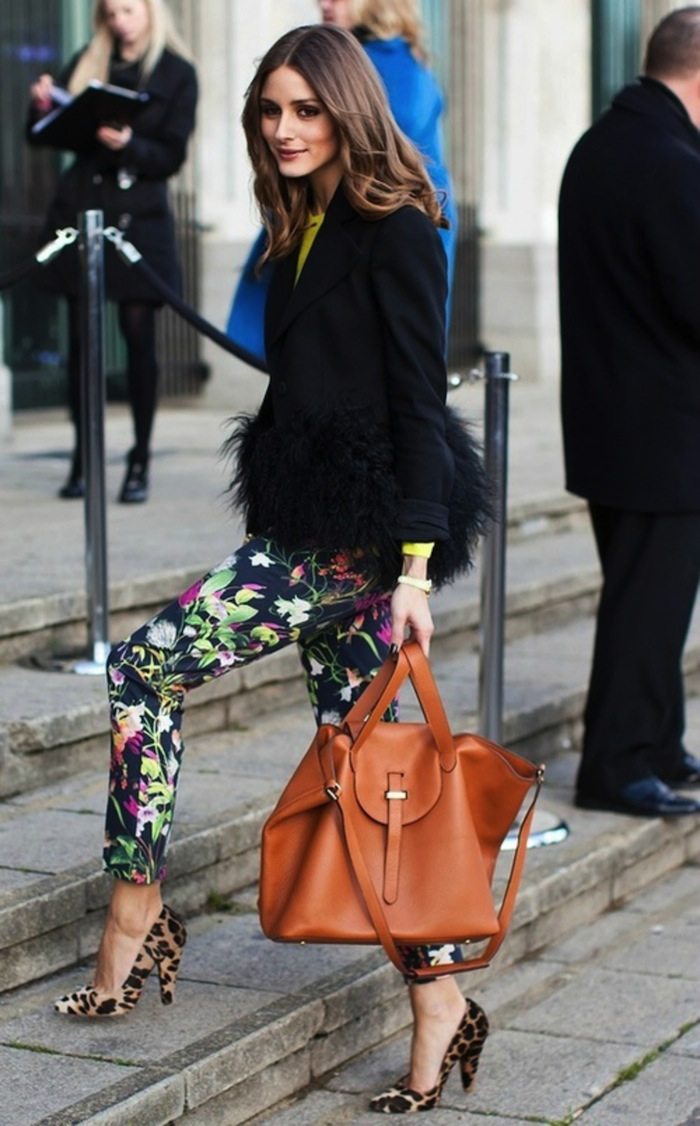 floral leggings and animal print heels