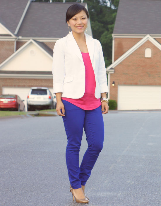 color blocked blue jeans and pink top
