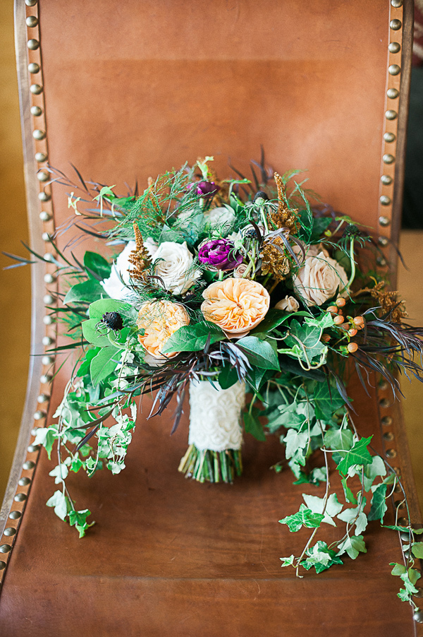 foliage bouquet - photo by Brandi Welles Photographer http://ruffledblog.com/sheer-romance-wedding-at-carondelet-house