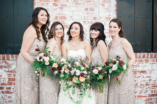 bride and bridesmaids - photo by Brandi Welles Photographer http://ruffledblog.com/sheer-romance-wedding-at-carondelet-house