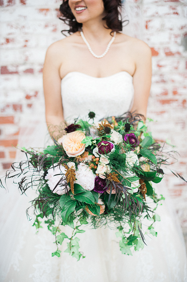 autumn wedding bouquet - photo by Brandi Welles Photographer http://ruffledblog.com/sheer-romance-wedding-at-carondelet-house