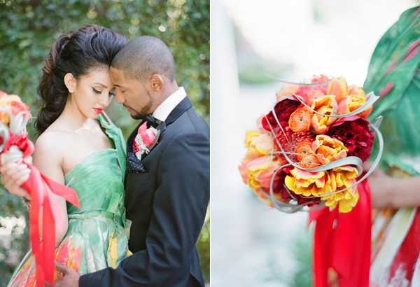 red bouquet - photo by Shannon Duggan Photography http://ruffledblog.com/propel-workshop-shoot-with-a-handpainted-gown