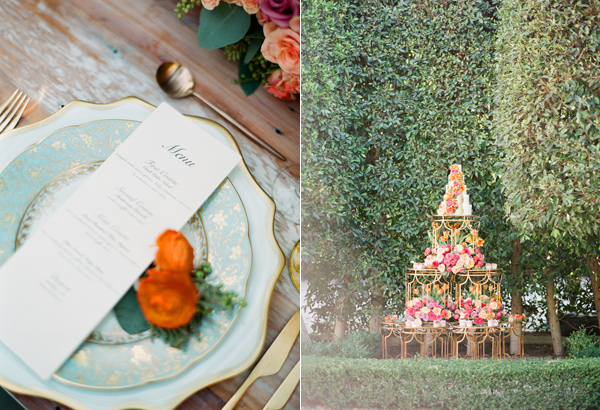 unique cake display - photo by Shannon Duggan Photography http://ruffledblog.com/propel-workshop-shoot-with-a-handpainted-gown