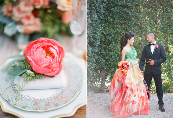 coral charm peony decor - photo by Shannon Duggan Photography http://ruffledblog.com/propel-workshop-shoot-with-a-handpainted-gown