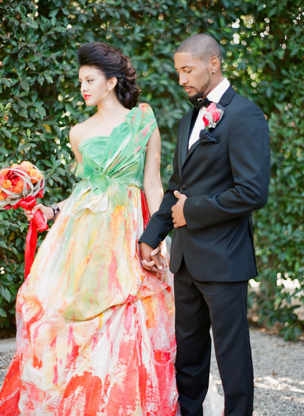 handpainted gown - photo by Shannon Duggan Photography http://ruffledblog.com/propel-workshop-shoot-with-a-handpainted-gown