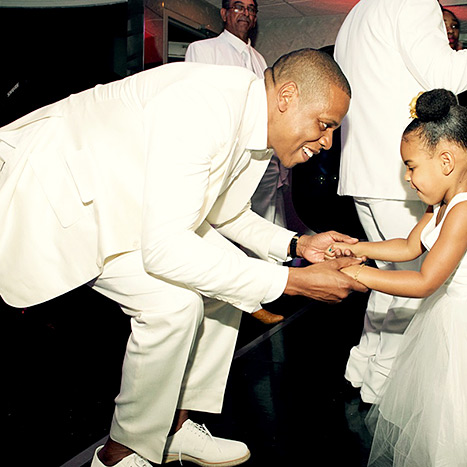 So sweet! Jay Z and Blue Ivy were snapped tearing up the dance floor at Tina Knowles' wedding to Richard Lawson on April 12.