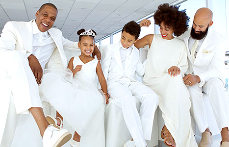 Jay Z, Blue Ivy, Daniel Julez, Solange, and Alan Ferguson enjoy the ride during Tina Knowles' yacht wedding.