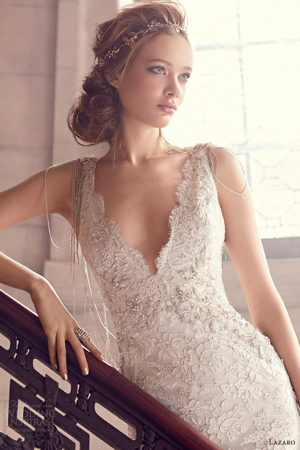 lazaro spring 2015 bridal style 3501 wedding dress alencon lace trumpet v neckline beaded necklace jeweled appliques chapel train