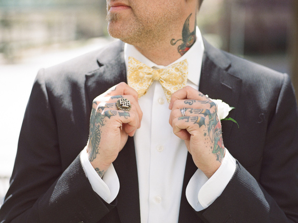 groom bow ties - photo by JD3 Photography http://ruffledblog.com/party-city-wedding-in-atlanta