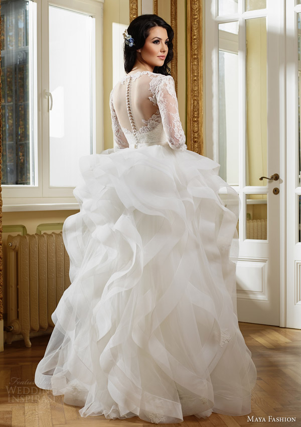 maya fashion 2015 royal bridal collection m27 illusion long sleeve wedding dress flange ruffle skirt illusion back view