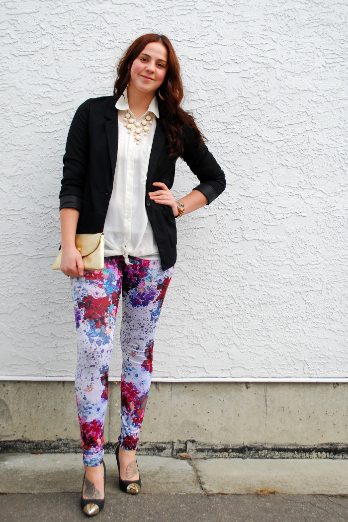 floral leggings and a blazer