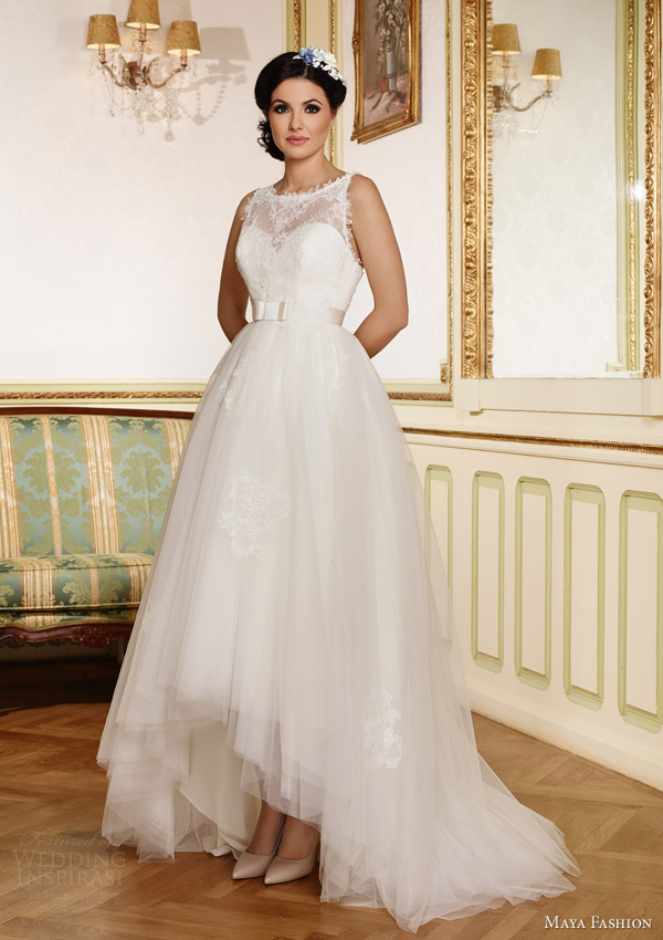 maya fashion bridal 2015 royal collection sleeveless bateau neck a line wedding dress high to low mullet skirt m35