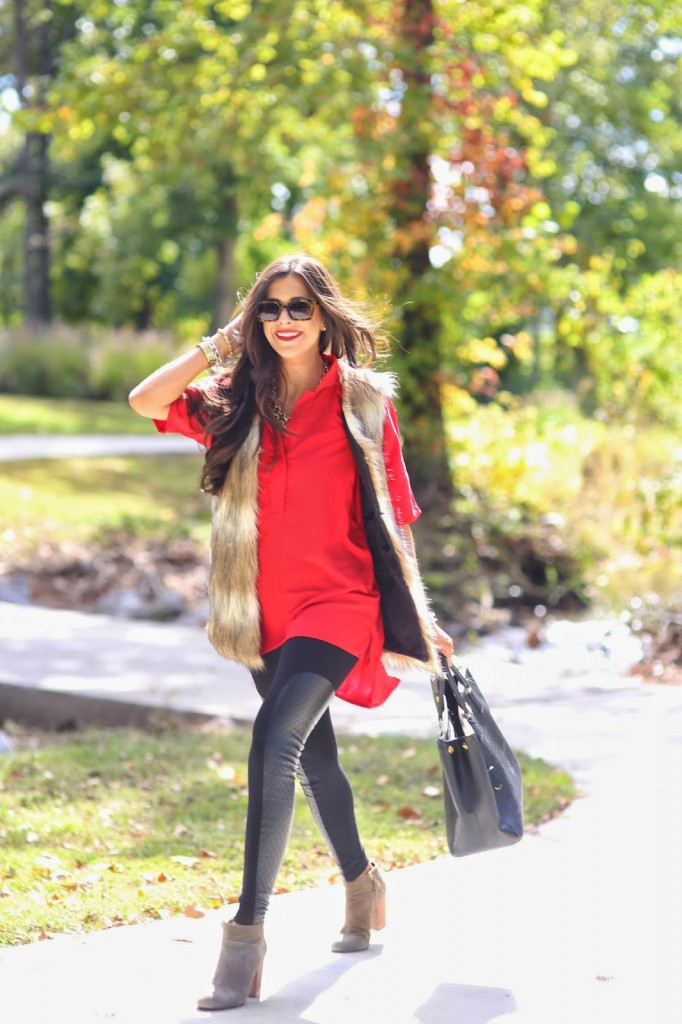 red tunic and leggings