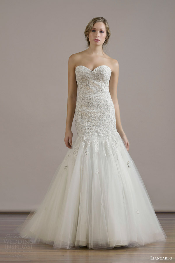 liancarlo bridal fall 2015 wedding dress style 6809 crystal encrusted embroidery illusion tulle drop torso trumpet strapless gown