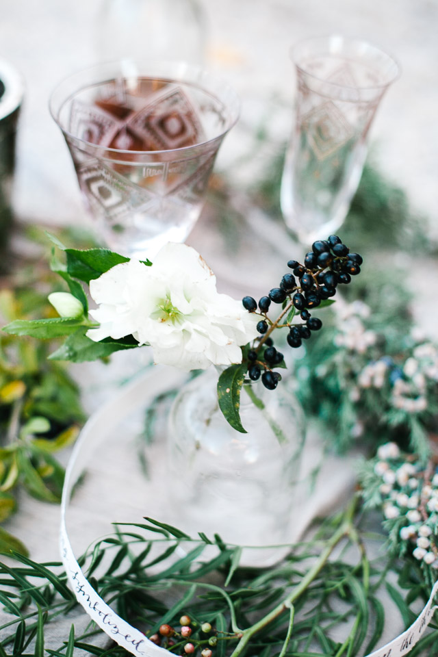 Floral tabletop details | Mary Claire Photography | see more on: http://burnettsboards.com/2015/04/dreaming-calligraphy-wedding-editorial/