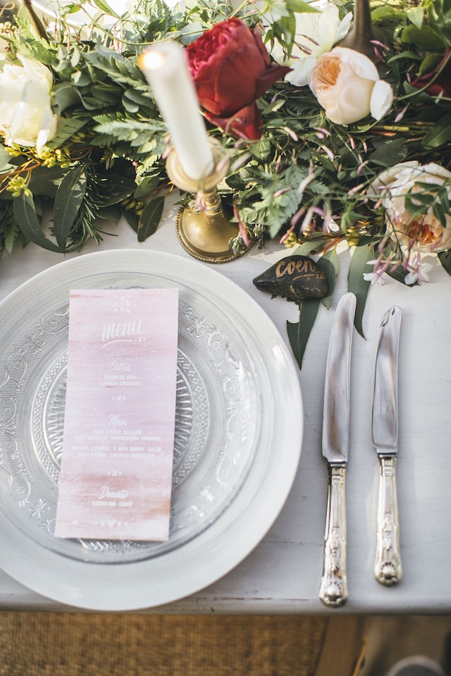 Pink watercolor wedding menu ⎪ Tina Shawal Photography ⎪ see more on: http://burnettsboards.com/2015/04/island-inspired-bohemian-wedding/