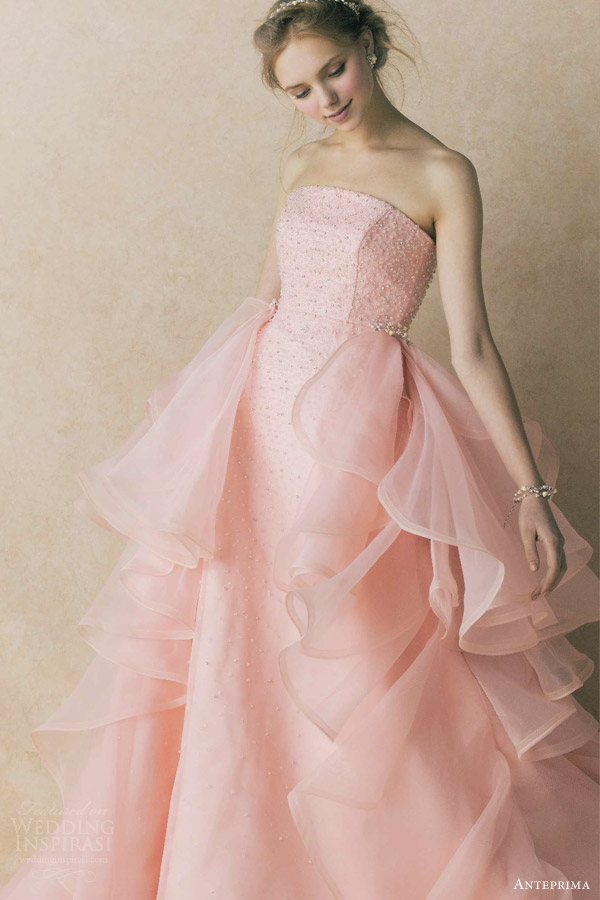 anteprima bridal salmon pink strapless column gown wedding side tulle ruffles wedding dress ant0067