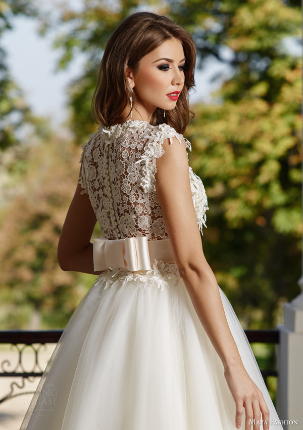 maya fashion 2015 royal bridal collection cap sleeve full aline wedding dress lace bodice m32 back view close up m32
