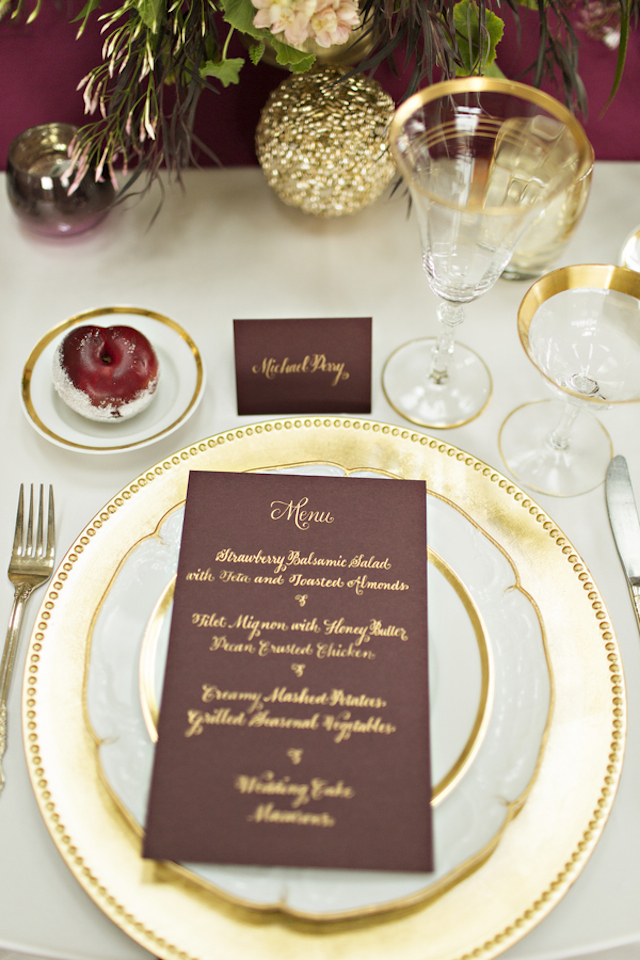 Burgundy and gold place setting | Courtney Bowlden Photography | see more on: http://burnettsboards.com/2015/04/burgundy-gold-wedding-ideas/