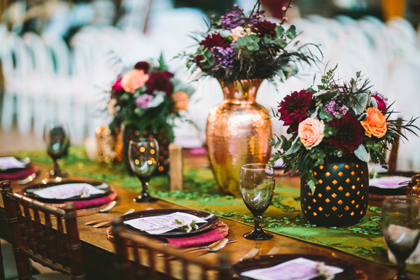 boho wedding tablescape ideas - Photo by Let's Frolic Together - http://ruffledblog.com/wanderlust-inspired-wedding-in-los-angeles