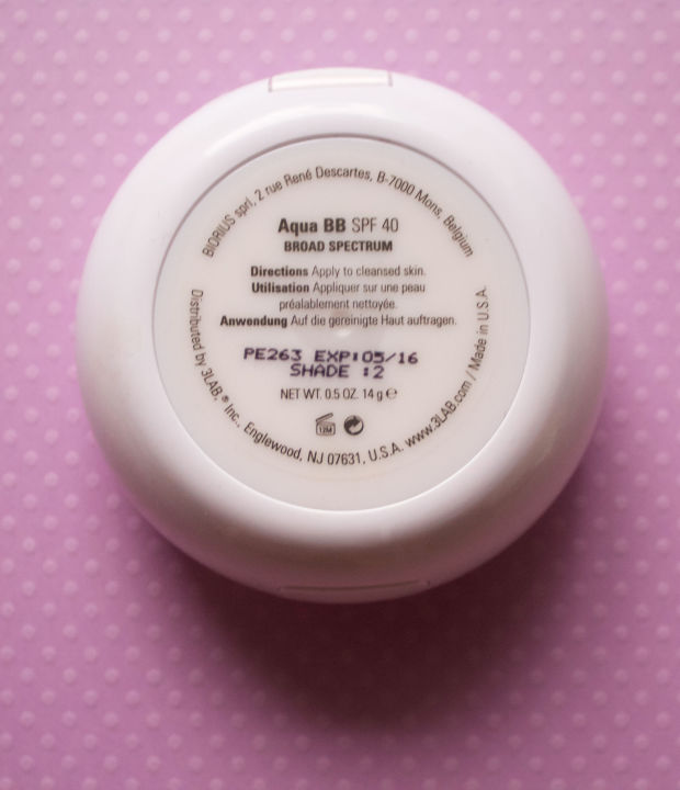 The back of the 3LAB Aqua BB cushion compact.