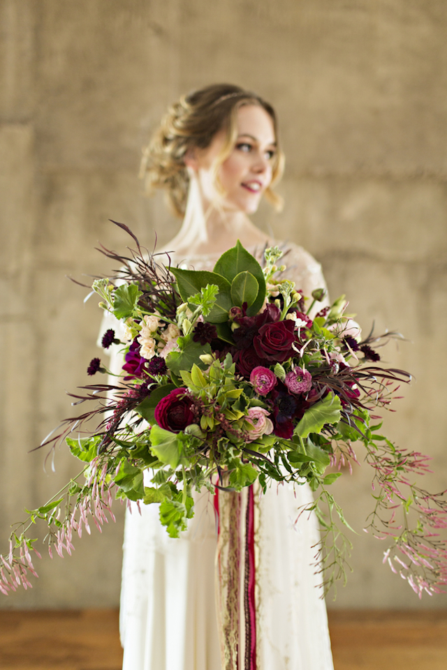Burgundy bridal bouquet | Courtney Bowlden Photography | see more on: http://burnettsboards.com/2015/04/burgundy-gold-wedding-ideas/