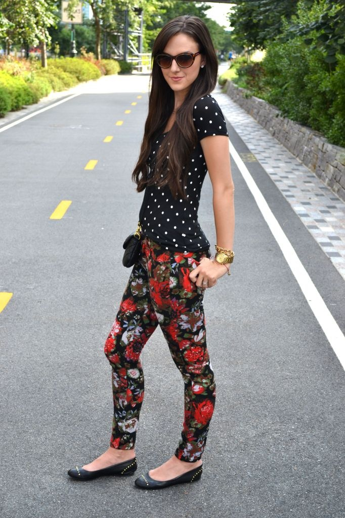 floral leggings and polka dots