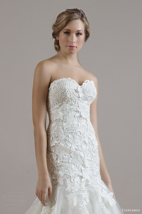 liancarlo bridal fall 2015 wedding dress style 6806 guipure lace on illusion tulle drop waist trumpet gown bodice close up